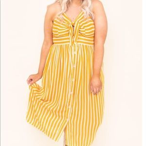 Yellow/White Front Tie Dress